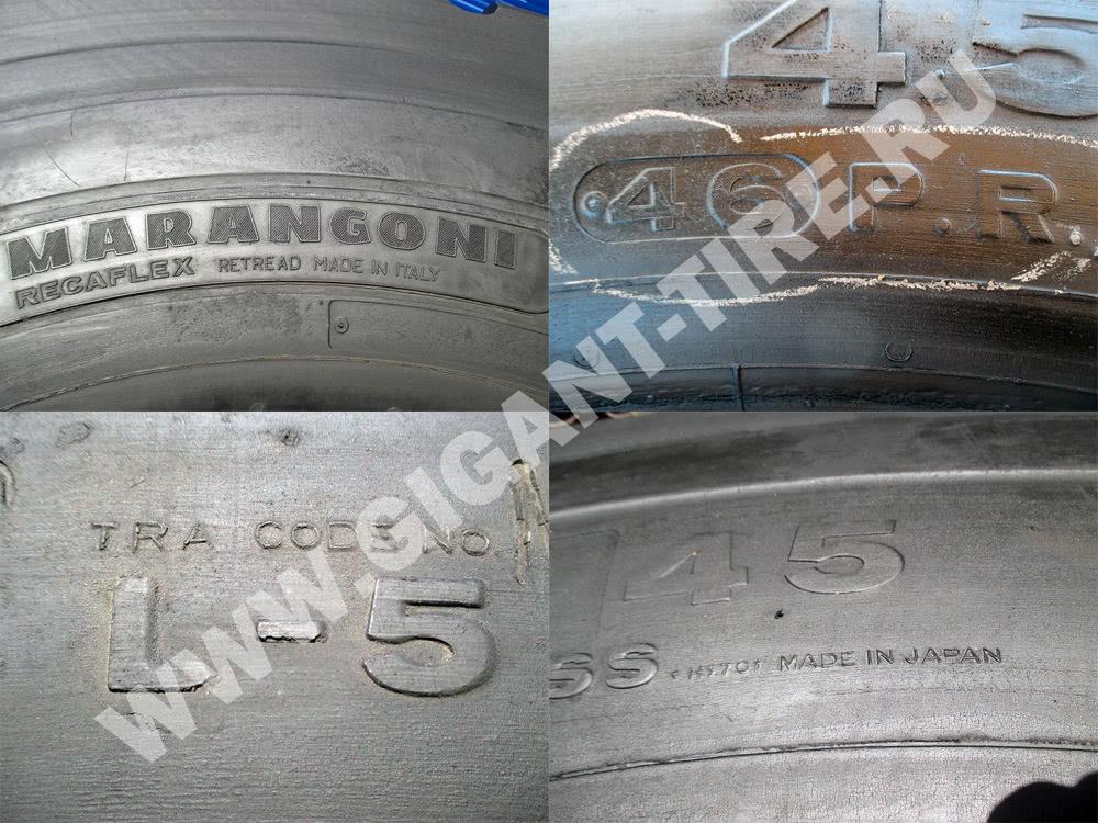 Обозначения на восстановленных шинах Bridgestone 45/65-45 D-LUG 2 L-5