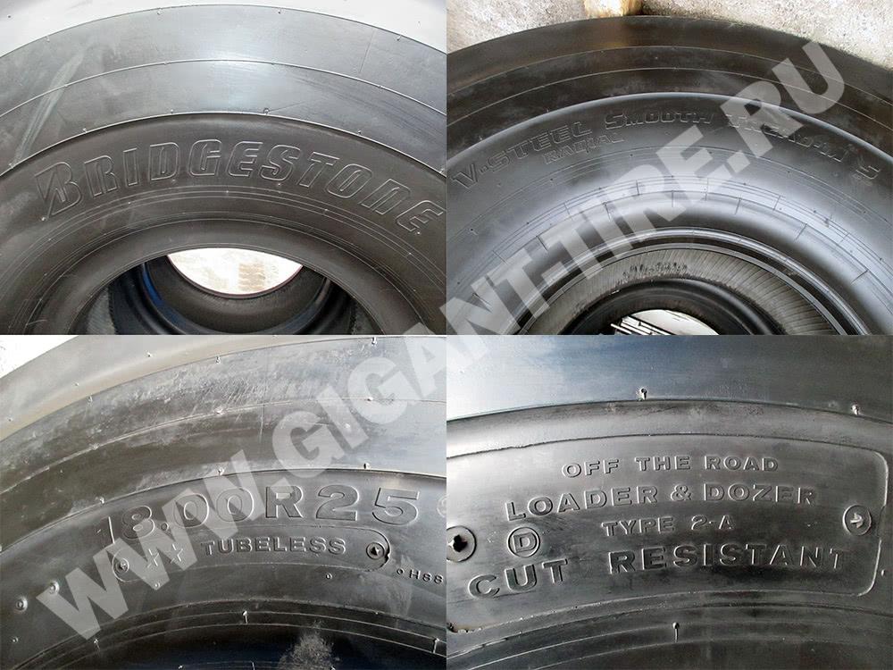 Условные обозначения на шинах Bridgestone 18.00 R25 VSMS L-5S для фронтальных погрузчиков и бульдозеров