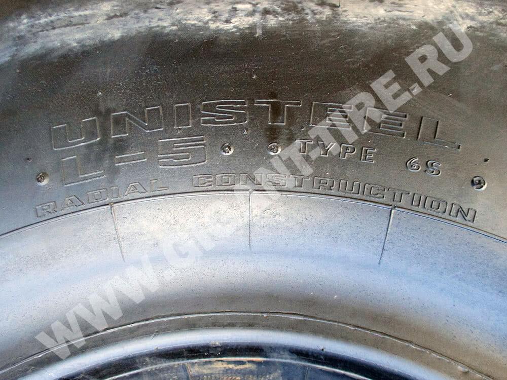 Обозначение Unisteel и маркировка типа протектора L-5 на шинах Goodyear 26.5R25 RL-5K