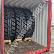 Расположение 12 шин 27.00R49 Michelin XDR2 в обычном 40-футовом контейнере (февраль 2019, Владивосток)