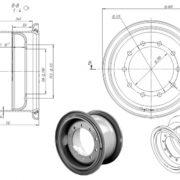 Чертёж диска 11.25-20 для грузовой шины 16.00R20
